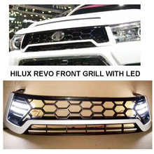 WITH LED DRL MATTE BLACK RACING GRILLS FRONT GRILL GRILLE FIT FOR HILUX REVO PICKUP SR5 M70 M80 2015 2016-ON with free shipping