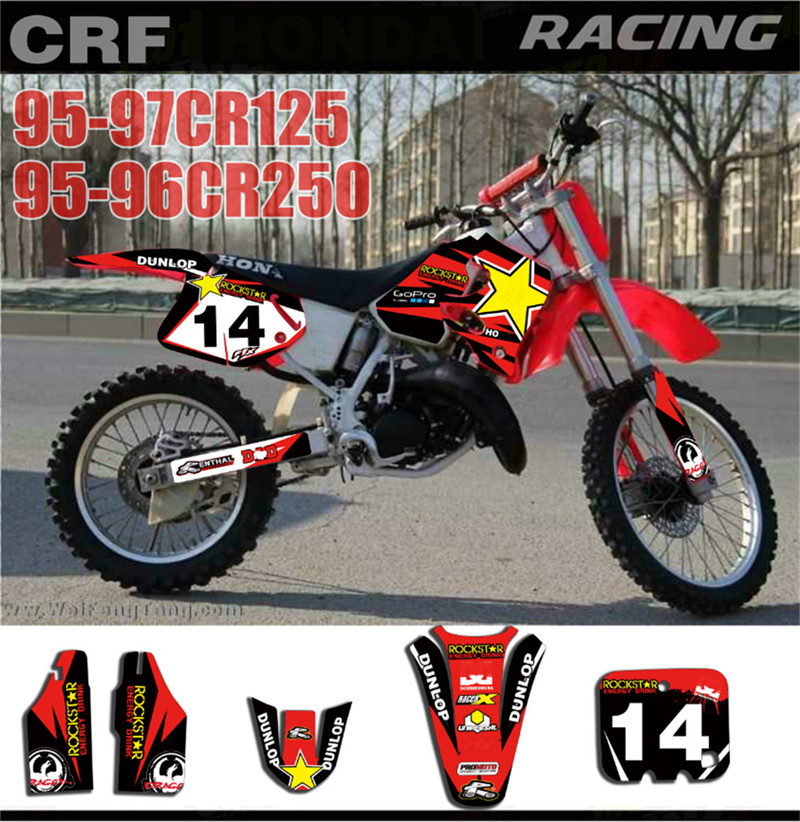 Motorcycle Team Graphics Customized Number Decals Stickers For HONDA CR125 1995-1997 CR250 1995-1996 CR 125 250 Motobike