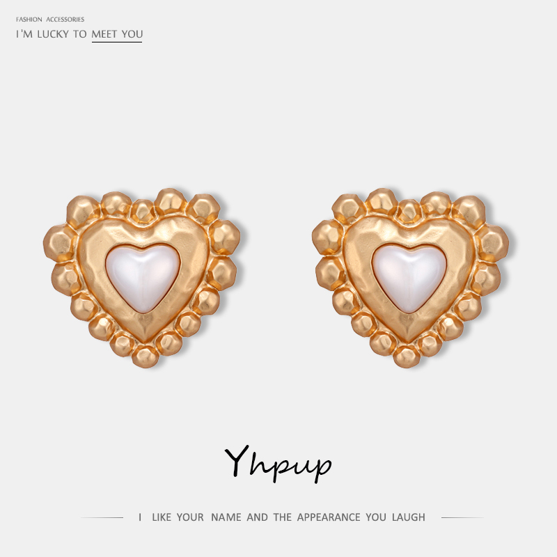 Yhpup Vintage Sweet Heart Geometric Stud Earrings Zinc Alloy Statement Gold Earrings for Women Party boucle d'oreille femme 2019