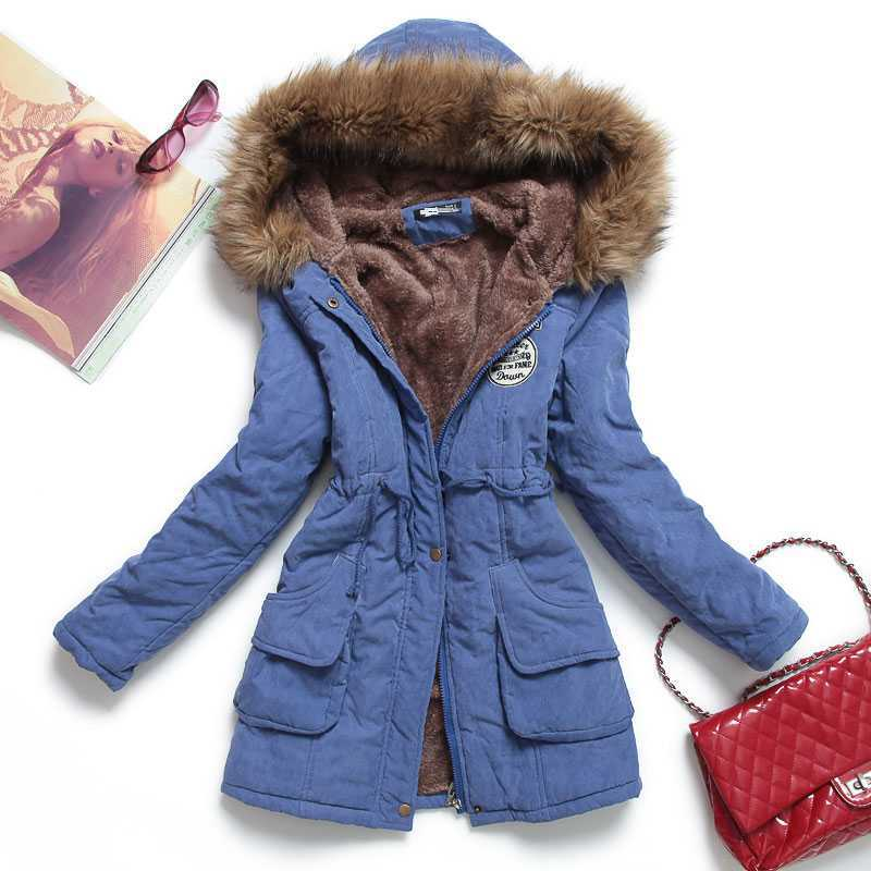 ФОТО New 2015 Women Winter Coat Wadded Jacket Medium-Long Plus Size Parka Fake Fur Collar Thicken Overcoat Female Snow Wear H4490