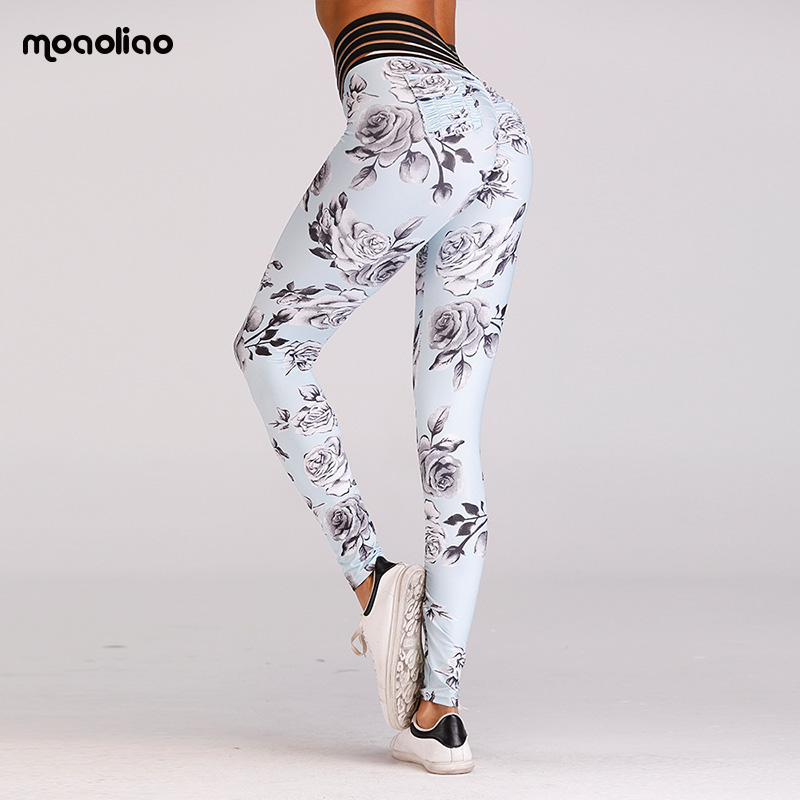 Leggings Sport Fitness Hot New Flower Printed Bottom Hip Yoga Pants Sports Pants Sexy Hips Leggings Compression Tights