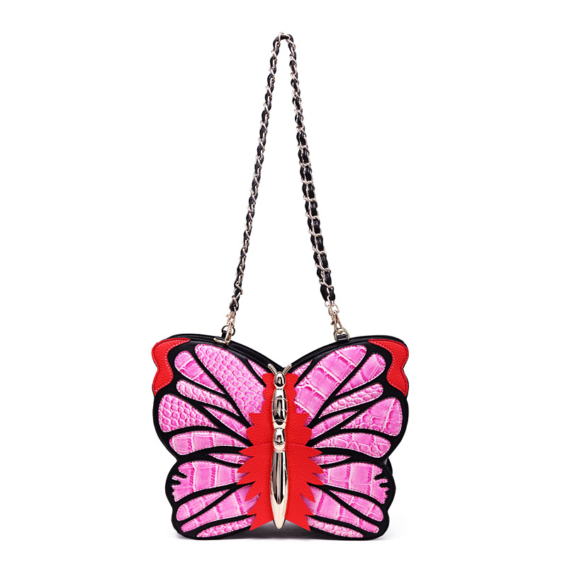 2017 Butterfly Fashion Mini Women Shoulder Bags Designer PU Leather Crossbody Bags Small Messenger Bags Ladies Evening Bags pink pvc crossbody bags with small pu bags
