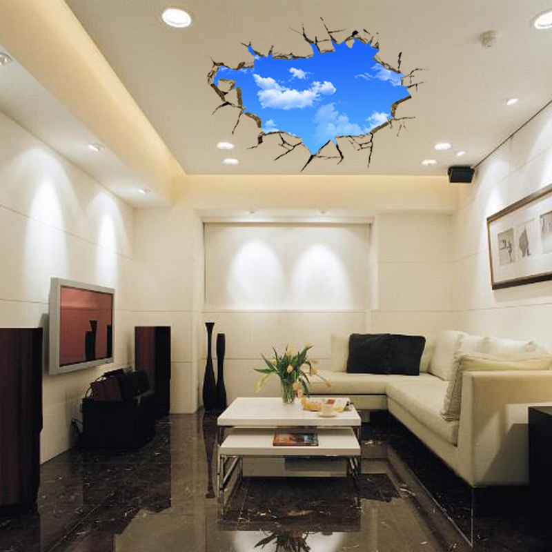 3d Blue Sky And White Cloud Scenery Window Background Wall Stickers Bedroom Living Room Art