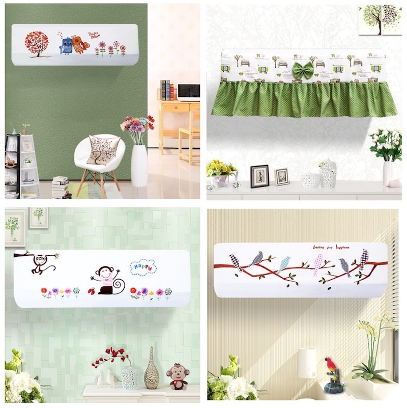 Working Air Conditioner 1.5p Wall Mounted Indoor Dust Cover Decoration Hood  Embroidery 80x20 86x20 92x18cm Trees Grapes Monkey In Air Conditioner Covers  ...