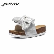 FeiYiTu Summer Woman Bowknot Cork Slipper Sandals Women Fashion Casual Beach Solid Color Flip Flops Slides Shoe Flat With black