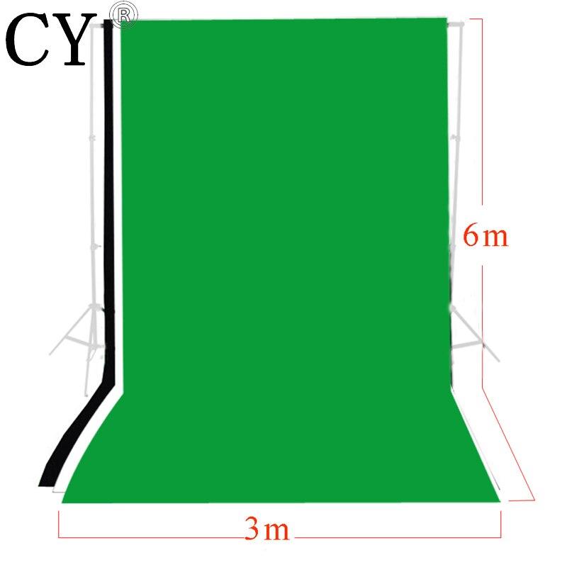 3 pcs Photo studio 3m x 6m Photo Studio Solid Muslin Backdrop Background Kits Black White Backdrop Set Chromakey PSB6D