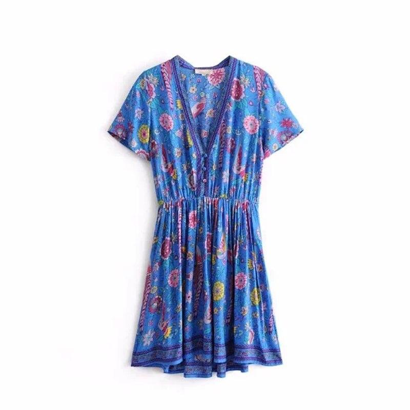 Boho robe bleu Lovebird imprimé Floral Mini Chic robe 2019 nouvelles robes d'été Hippie bohême décontracté plage robe femmes Vestidos