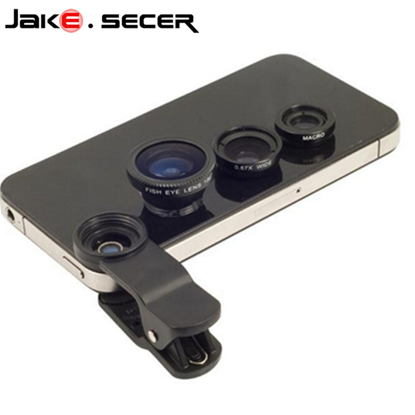 Fisheye Lens 3 in 1 mobile phone lenses fish eye +wide angle +macro camera lens for iphone 7 6s plus 5s/5 xiaomi huawei samsung(China)