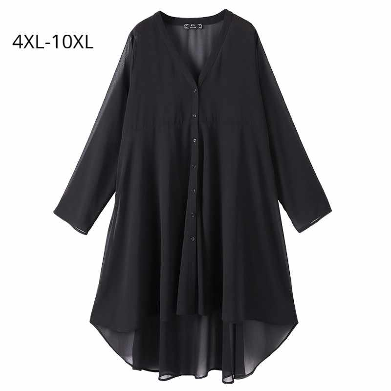 Plus Size 10XL 8XL 6XL 4XL Women Long Sleeves Clothing Womens V Neck Black Chiffon Long Style Blouses Ladies Casual Summer Tops