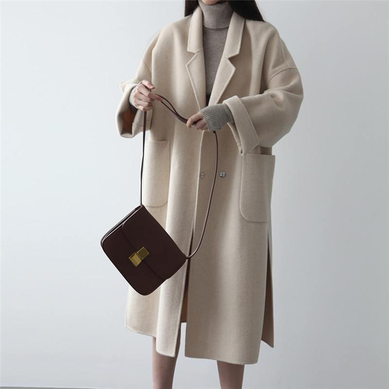2019 Autumn Winter Women's Woolen Coat Double Faced 100% Cashmere Jackets Solid Color Long Coat Female Wool Blends Outerwear X39