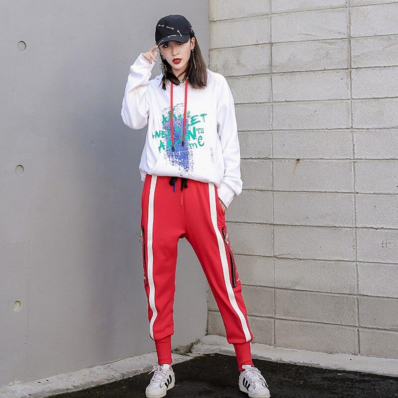 Donna Primavera Inverno del Cotone Della Rappezzatura Matita Pantaloni Zipper Stile Europeo Cuciture Pantalone Nero Rosso Plus Size S XXXL - 4