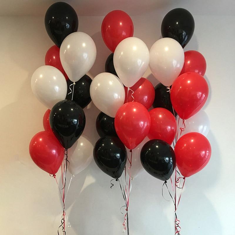 25 шт./лот 10 дюймов красные белые круглые латексные воздушные шары вечерние украшения на день рождения для взрослых гелиевые воздушные шары ...