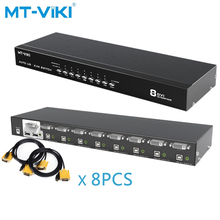 MT-VIKI 8-port DVI KVM switch Mouse and keyboard sharing 8 hosts share 1 monitor Press the key to switch manually MT-2108DL upgraded mt viki 8 port smart manual key press vga usb kvm switch remote extension switcher console original cable rackmount