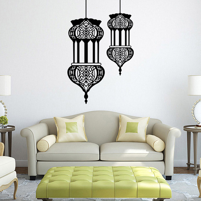 Islamic lantern vinyl wall stickers muslim pattern arabic art wall decals mosque home mural poster sofa