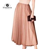 Длинные юбки плиссированная юбка женская 2018 Лето Высокая Талия Роскошные тюль сетки вуаль юбка пачка Мода