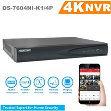 In Stock Hikvision 4CH PoE NVR DS-7604NI-K1/4P 4 Channel Embedded Plug Play 4K NVR with 4 PoE Ports for IP Camera CCTV System