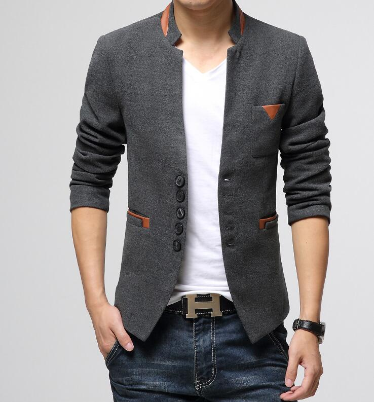 New Men Casual Business Blazers Slim Fit Leather Patchwork Single Breasted Brand Design Fashion Male Suit Blazer Jacket