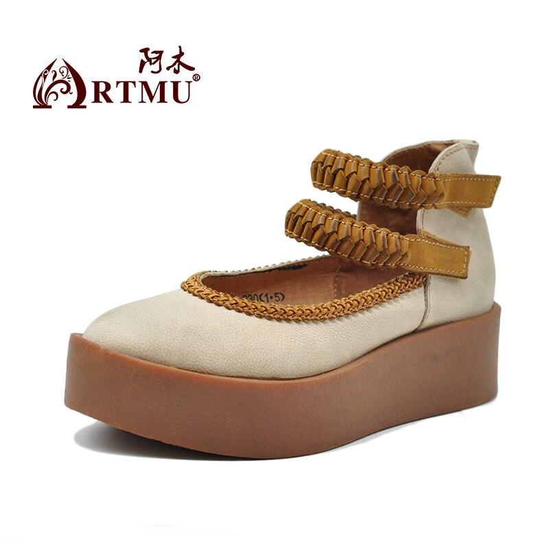 Artmu 원래 새로운 봄 두꺼운 유일한 여자 단화 진짜 가죽 플래트 홈 handmade 걸이 & 반복 plat 유일한 복고풍 단화 1616-에서여성용 플랫부터 신발 의  그룹 2