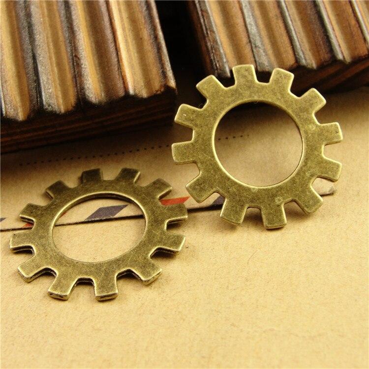 100 Pcs Lot 25 Mm Metal Alloy Antique Bronze Gear