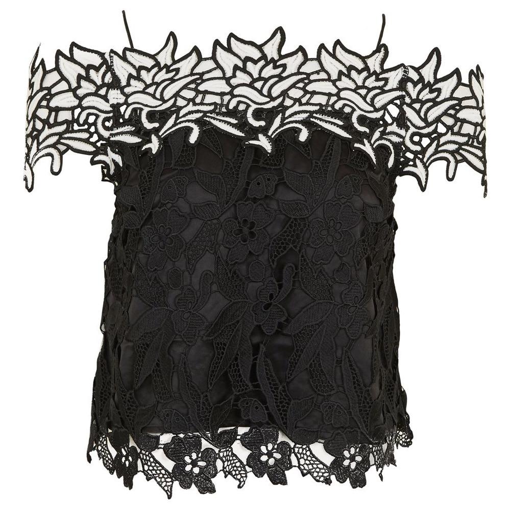 Mujer blusas de encaje 2017 verano negro de manga larga camisa de encaje superio