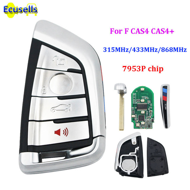 Smart 4 buttons 315mhz 433mhz 868MHZ Remote Key Keyless Entry fob for BMW F CAS4 5 7 Series X5 X6 2014 2015 2016 with insert key