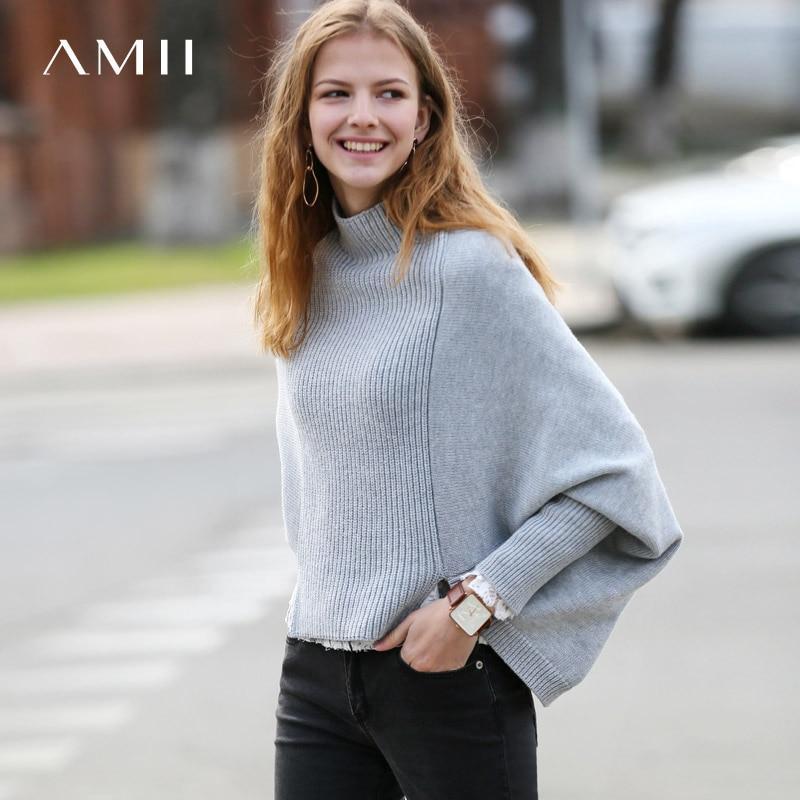 Amii Minimalist Women 2019 Autumn Sweater Chic Long Back Short Front High Quality Original Design Female