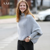 Amii Minimalist Women 2019 Autumn Sweater Chic Long Back Short Front High Quality Original Design Female Pullovers Sweaters