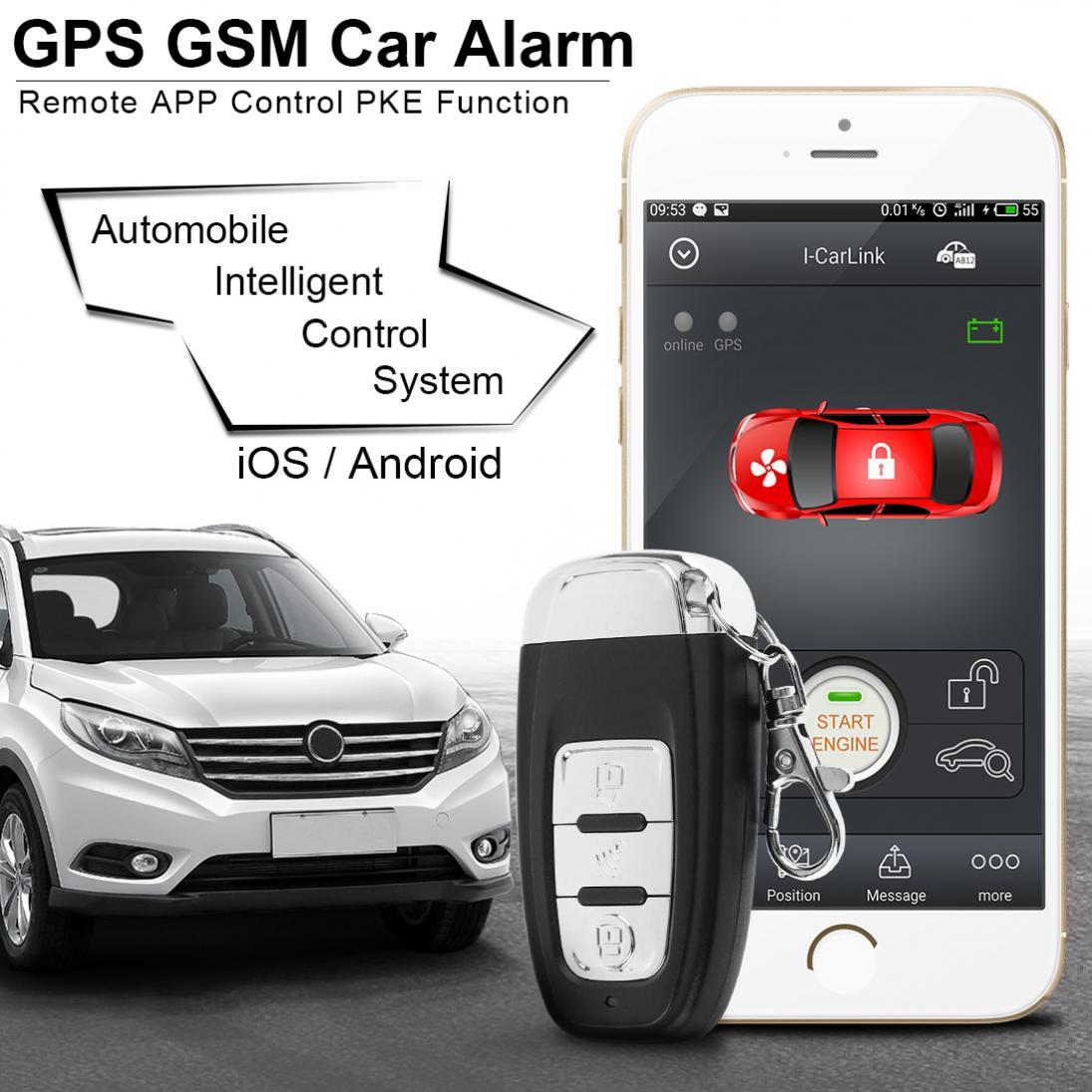 PKE Smartphone démarrage voiture alarme intelligente démarrage à distance arrêt système du moteur avec verrouillage Central automatique et alarme de Vibration