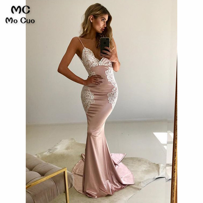 2018 Mermaid   Prom     dresses   Long with Appliques Vestidos de fiesta   dress   for graduation Shiny Satin Backless Formal Evening   Dress