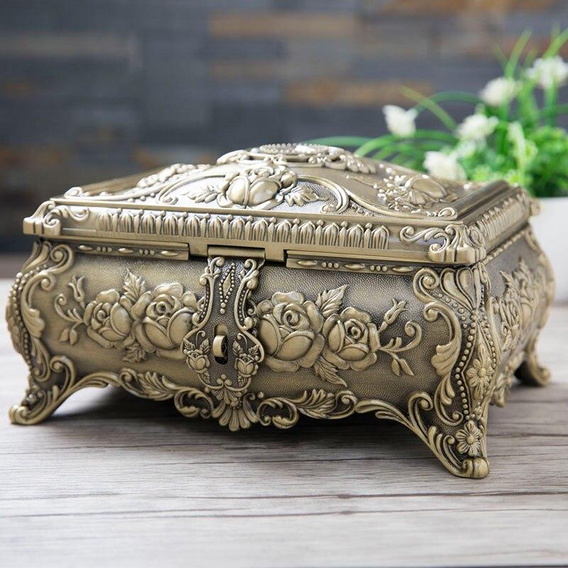 Ev ve Bahçe'ten Saklama Kutuları ve Kovaları'de 28.2X22X15 CM büyük boy takı saklama kutusu elmas Ile bronz renk mücevher kutusu organizatör Takı yüzük küpe kutusu Z088'da  Grup 1