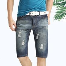 Hot sale 2015 Male summer denim short jeans hole trend knee-length men's straight men jeans free shipping