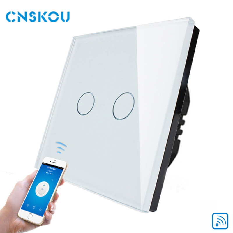 Cnskou Manufacturer Wifi Touch Switch, LED Light Wall Smart Home Remote Control UK Switch,2 Gang 1 Way Luxury Glass Panel smart home eu touch switch wireless remote control wall touch switch 3 gang 1 way white crystal glass panel waterproof power