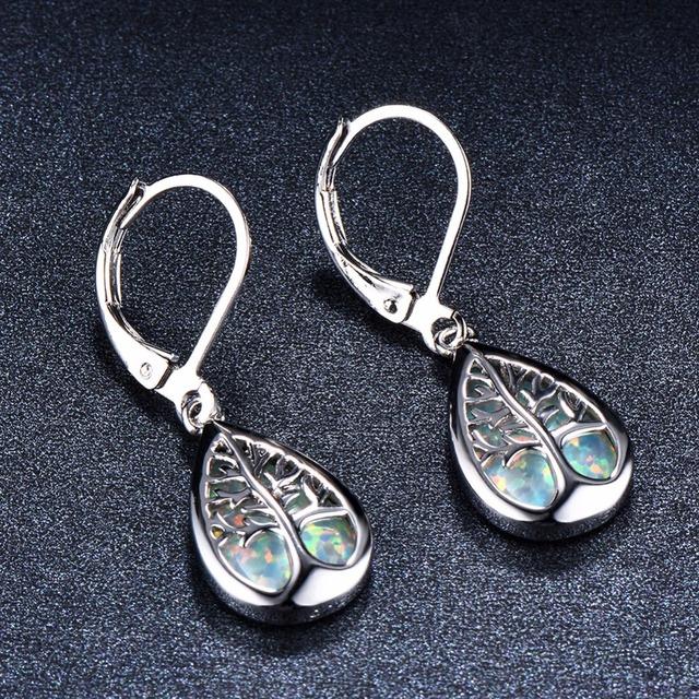 White/Blue Opal Drop Earrings