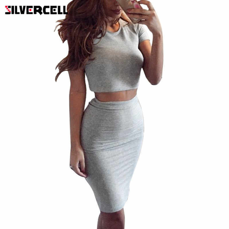 b71d0f4fa01 SILVERCELL 2 Piece set Summer Style Bodycon Dresses Women Lady Dress Set  for Party Vestidos