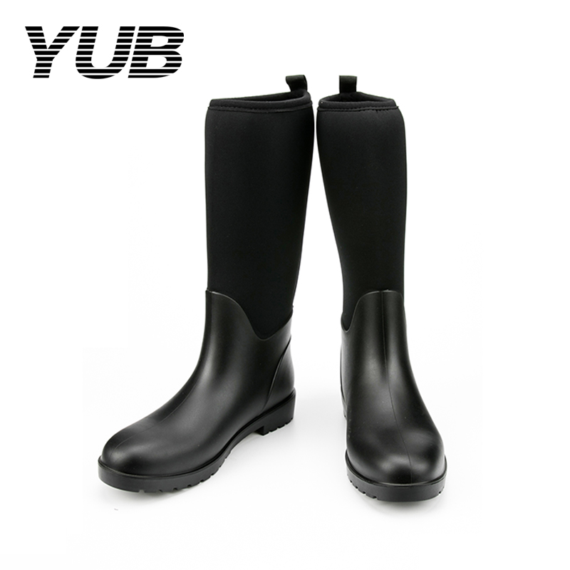 YUB Brand Rain Boots Women Waterproof Knee-High Winter Boots with High Heels Motorcycle Rubber Shoes Size 6.5-10 yub brand waterproof rain boots for women with solid color slip on winter mid calf shoes for girls