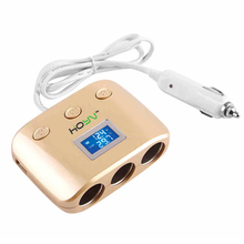 Auto Isqueiro Do Carro 3 Way 120 W Soquete Splitter 2 dupla USB Carregador de Carro Conversor de Energia Adaptador de Suporte De Potência Automático off