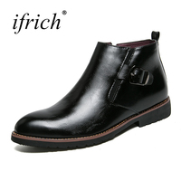 Ifrich New Leather Boots Men Buckle Strap Mens Pointed Toe High Top Shoes Autumn Winter Footwear Male Comfortable Mans Footwear