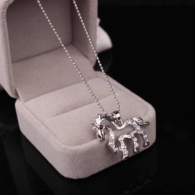 Fashion Hollow Out Crystal Unicorn Necklaces & Pendants Trendy Jewelry For Women Baby Gifts For Girls Cute Animal Horse Necklace