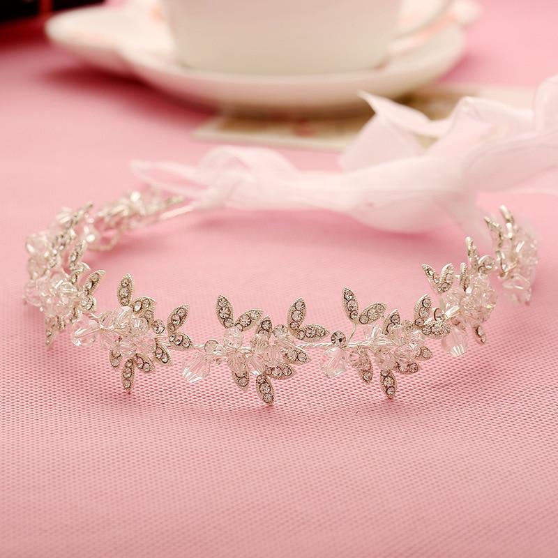 Gorgeous Handmade Ribbon Rhinestones Crystal Wedding Tiara Headband Bridal Headpieces Hair accessories Bridesmaids Women Jewelry