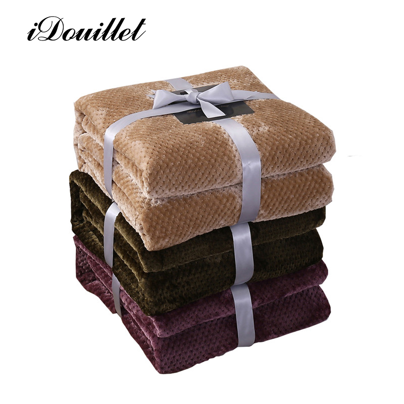 idouillet fashion brushed fleece throw blanket for bed sofa couch rug plaid 200300cm kakhi breen purple