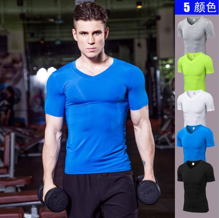 Men V Neck Tight Short-sleeved Fitness Running Speed Fast Dry T-shirt Clothes