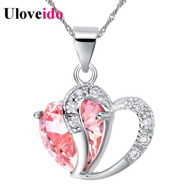 Скидка 15% Сердце колье ожерелье Женщины ожерелья и подвески для 2017, женская обувь кристалл кулон фиолетовый розовый синий ювелирные изделия uloveido N673