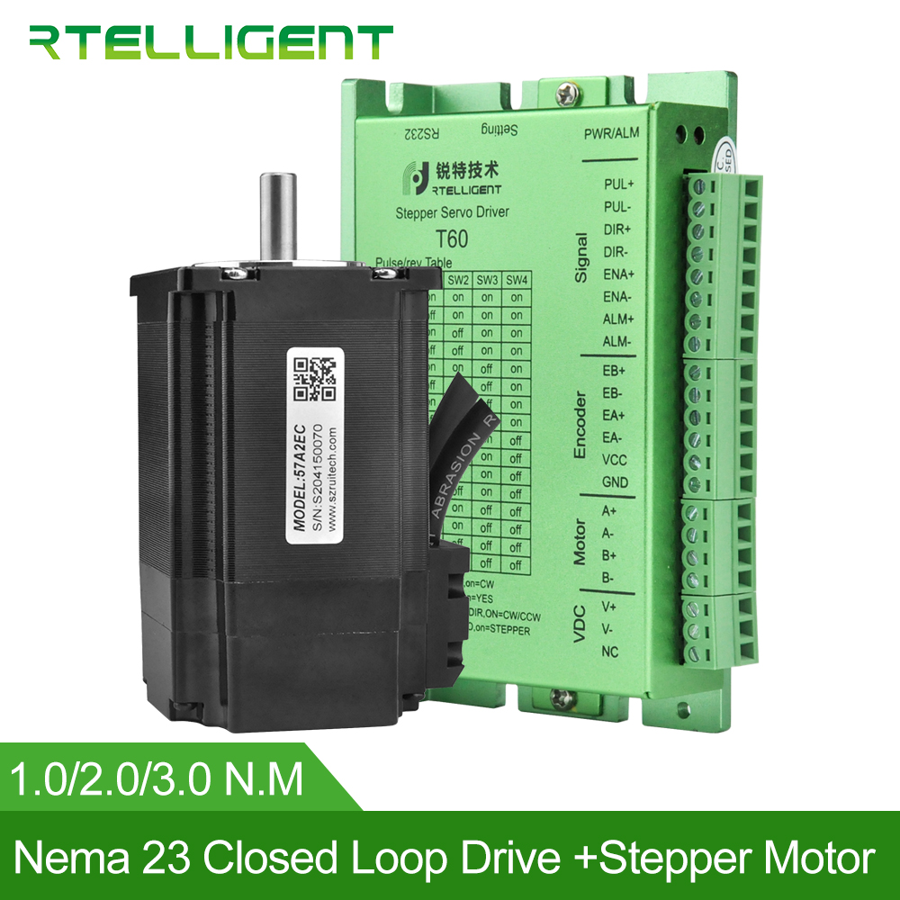 Rtelligent Factory Outlet Nema 23 Stepper Motor with Nema 23 24 Closed Loop Stepper Motor Driver