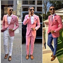 Pink 2 Pieces One Button Business Men Suit Slim Fit Jacket Casual Custom Made