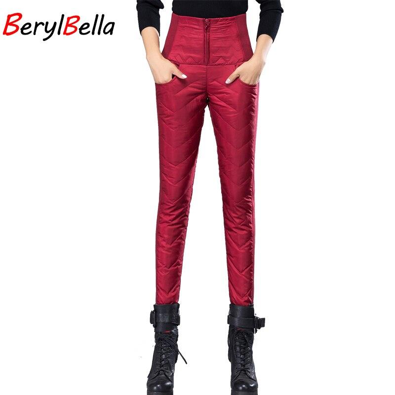 BerylBella Invierno de Las Mujeres Bajó Los Mcqueen Pantalones 2017 Plumón de pato Gruesa Ropa Exterior Delgado Lápiz de Cintura Alta Pantalones Femeninos Pantalones Calientes Negros