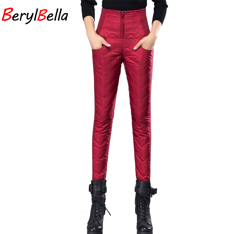 BerylBella Winter Women Down Pants 2019 High Waist  Duck Down Thick Outer Wear Slim Pencil Pants Female  Black Warm Trousers