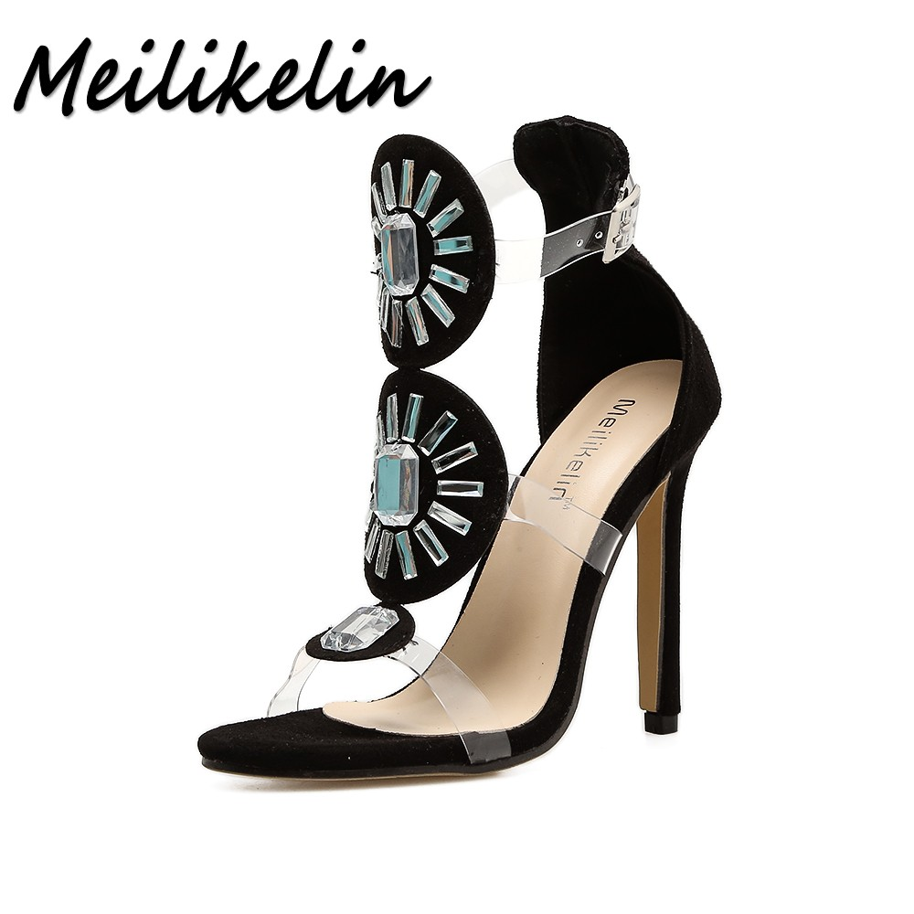 Meilikelin Summer Women High heel Sandals Woman Pumps Ladies Shoes Sexy Party Wedding Transparent Crystal Stilettos Sandals