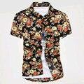 2016 Новый Горячий Стиль Мужчины Цветочные Рубашки С Короткими Рукавами