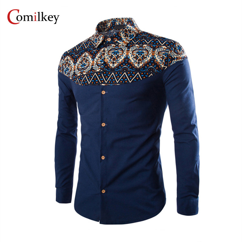Brand Clothing Mens Business Shirts Slim Long Sleeve Men Shirt Camisa Social Masculina Male Printing floral Shirt  Chemise Homme