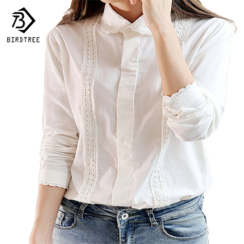 White Blouse Women Work Wear Cotton Lace Embroidery Turn-Down Collar Long Sleeve Tops Shirt  S-XXL Blusas Femininas T55260